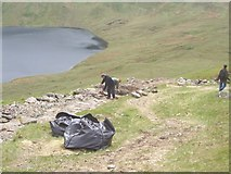 NY3412 : Remaking the footpath on Dollywaggon Pike by Grisedale Tarn by Keith Rose