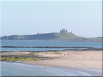 NU2424 : Southern half of Newton Haven, with Dunstanburgh Castle in the background by N Chadwick