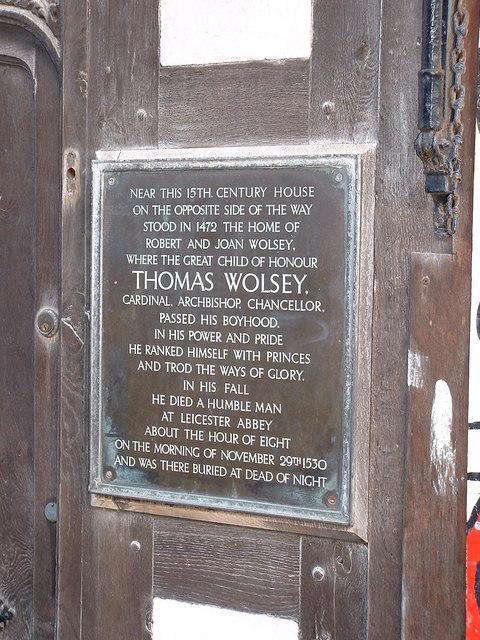 Photo of Robert Wolsey, Thomas Wolsey, and Joan Wolsey black plaque
