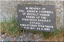 SH6742 : Slate plaque in memory of Colonel Campbell at Dduallt Station by Jonathan Simkins
