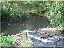 NZ4706 : Coul Beck joining the River Leven by Nick W