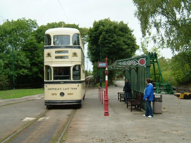 Tram stop at Crich Tramway Village