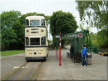 SK3455 : Tram stop at Crich Tramway Village by Jonathan Simkins
