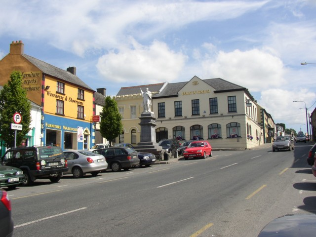 Street scene with statue of Father John Murphy, Tullow, Co. Carlow
