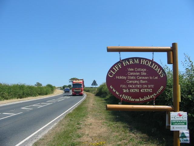 The A170 at Cliff Farm Holidays entrance near Sinnington