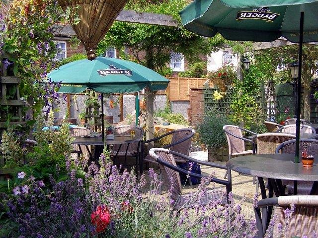 Rear garden at the Royal Oak, Cerne Abbas