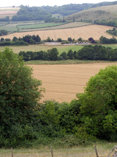 The Giant 'viewing area' viewed from Giant Hill, Cerne Abbas