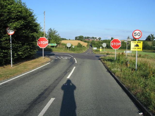 Accident black-spot near Newborough, Staffordshire.