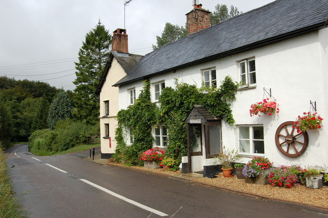 Cottages along the side of the (B3224) road at Luckwell Bridge