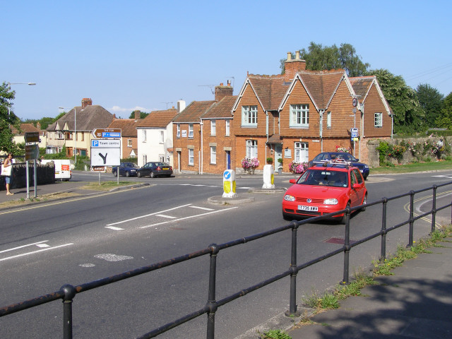 Roundabout at the junction of Bere Lane and Chilkwell Street, Glastonbury