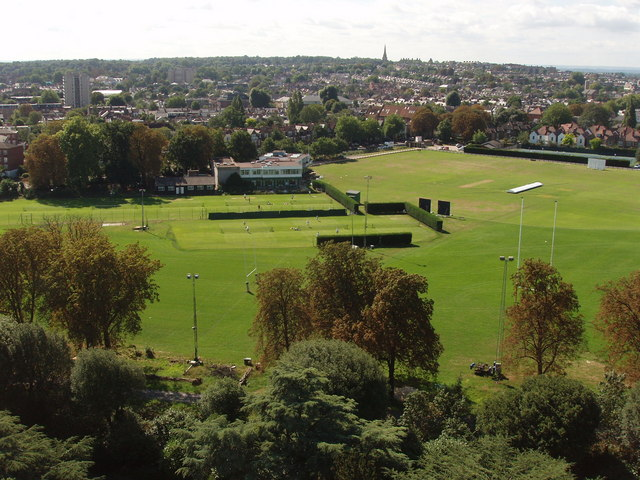 Old Deer Park sports grounds, view south from Kew Gardens pagoda