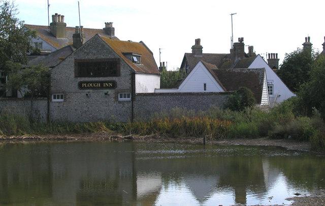Rottingdean Pond with 'The Plough Inn'