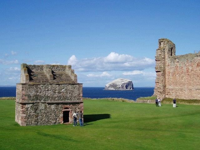 Tantallon Castle Doocot with Bass Rock beyond