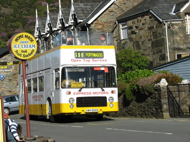 The Open Top Rhyd-Ddu to Porthmadog Bus Leaves Beddgelert on its Last Journey of the Day