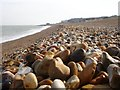 TR3848 : Flint shingle on Kingsdown beach by Penny Mayes