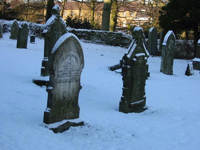 Kirkwhelpington churchyard in snow
