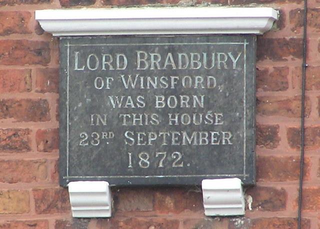Birthplace of Lord Bradbury of Winsford