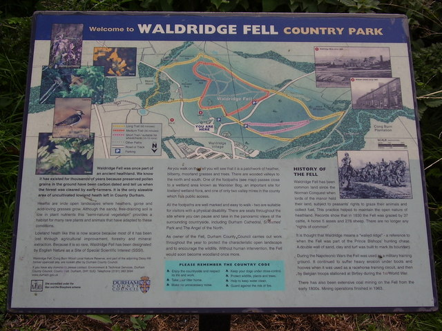 Sign in car park Waldridge Fell
