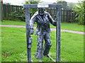 NZ2150 : Sculpture of miner Craghead near Stanley by P Glenwright