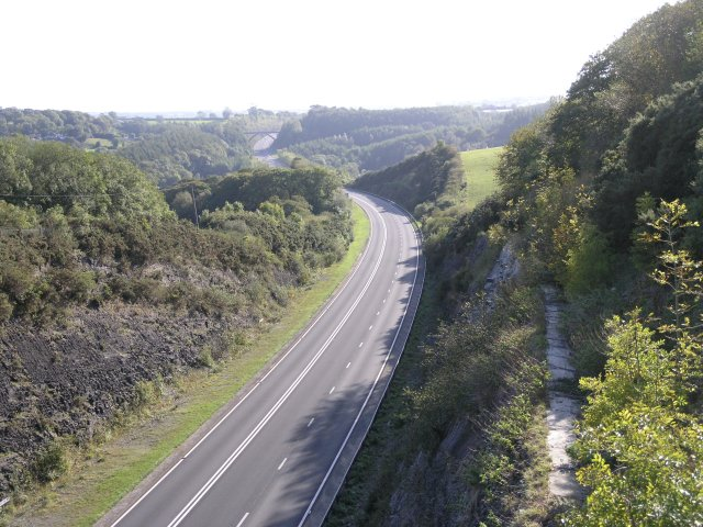 View from a bridge over the A477