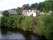 SJ1143 : River bank of the Dee at Carrog by Eirian Evans