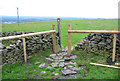 SJ9473 : Gritstone Trail marker and dry stone wall by Espresso Addict