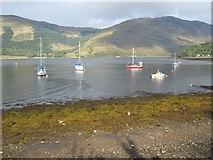 NN0958 : Boats in Loch Leven by John Allan