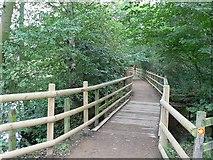 SE2741 : Bridge onto the dam, Golden Acre Park Lake by Rich Tea