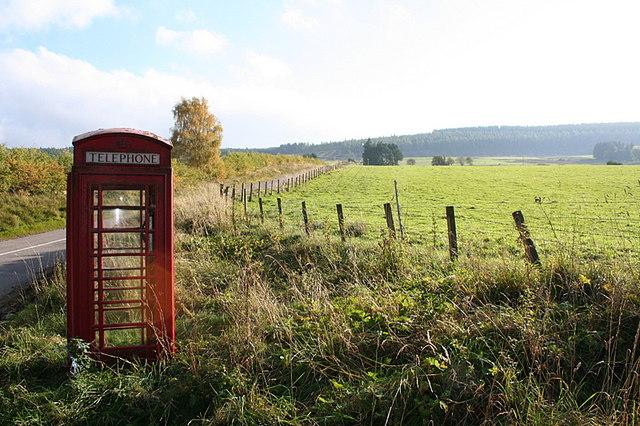 Phonebox on lane to Heugh-head. by Des Colhoun
