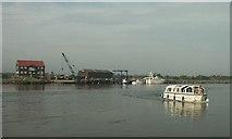 TG5107 : Boatyard and hire boat, Great Yarmouth by Katy Walters