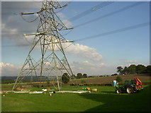 SE1223 : Repairs to a pylon off Church Lane, Southowram by Humphrey Bolton