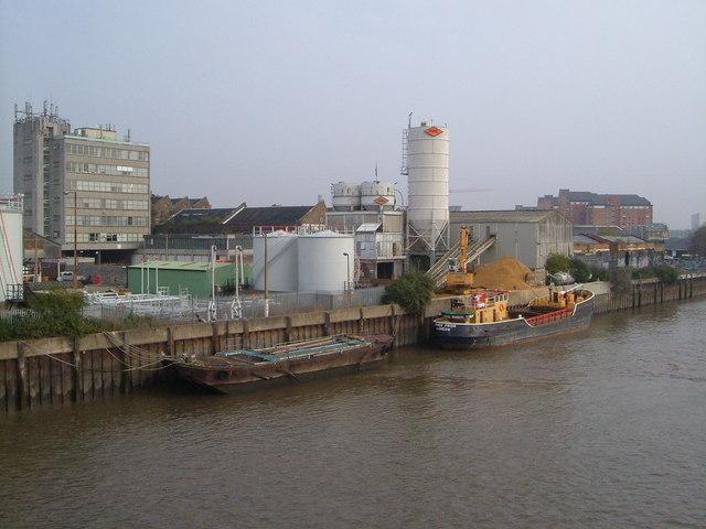 Thames wharves from Wandsworth Bridge