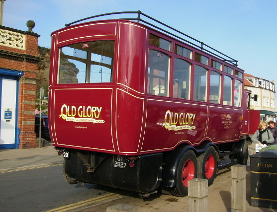 Old Glory steam powered bus near Whitby fish quay