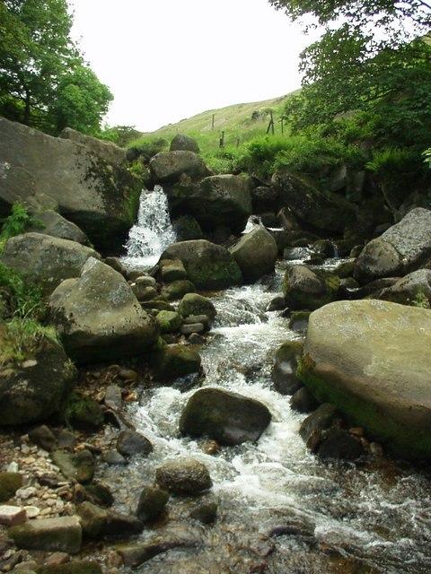 Colden Water above Hebble Hole footbridge