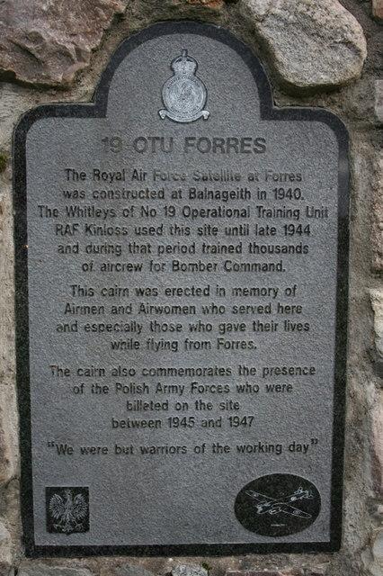 RAF commemorative plaque near Forres.
