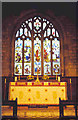 NY9365 : St. John Lee - interior shot of stained glass window and altar by Trudi Barr