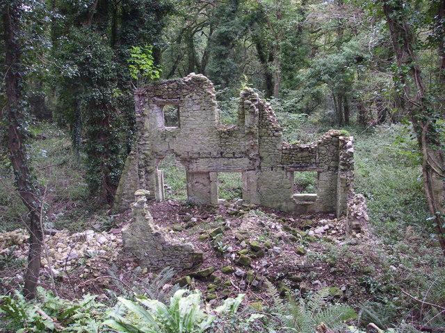 Ruin dwarfed by trees