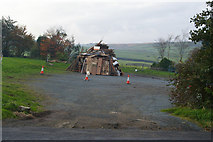 SD9628 : Bonfire on the car park of the New Delight pub, Jack Bridge by Phil Champion