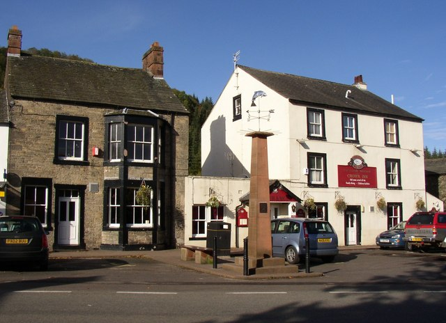 The Crown Inn and monument, Pooley Bridge, Barton