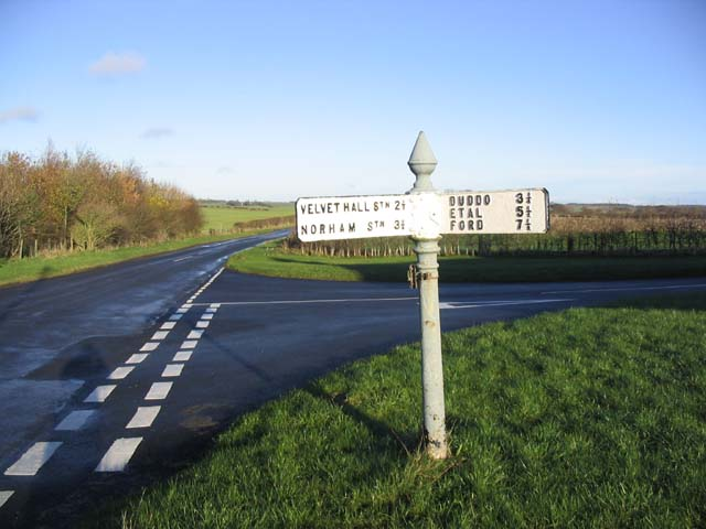 Road junction and sign at West Allerdean