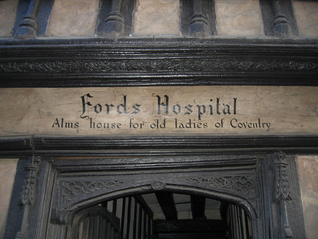 Inscription over the entrance to Ford's Hospital