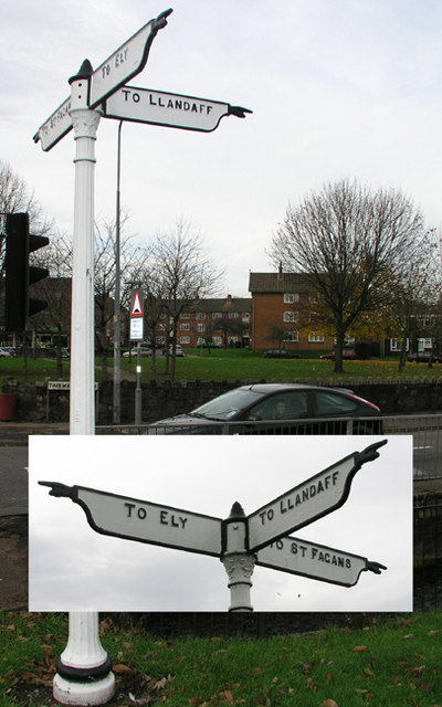 Fingerpost at Fairwater Green, Cardiff