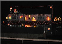 SJ3464 : Another heavily decorated Christmas House by John S Turner
