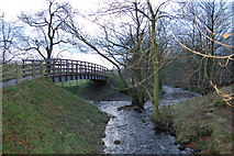 NY6565 : Footbridge below Thirlwall castle by P Glenwright