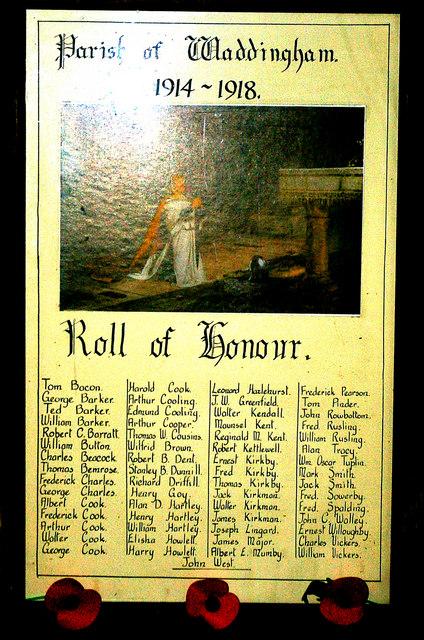 Parish of Waddingham 1914-1918 Roll of Honour