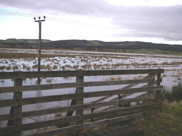 Flooded land by River Spey from Speyside Way
