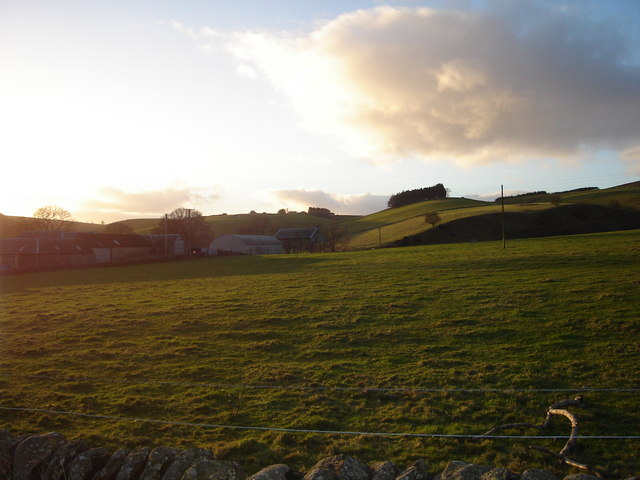 Evening approaches over pasture land near Little Kilry