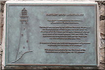 V8126 : Plaque on Jetty building on Rock Island by Dr Brian Lynch