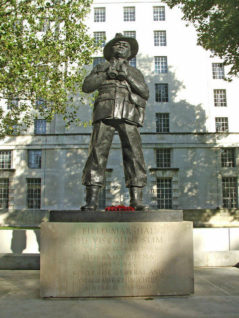 Statue of Field Marshal the Viscount Slim, Whitehall, London