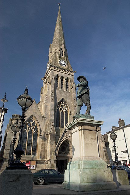 The Free Church with Oliver Cromwell statue in foreground